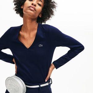 Lacoste Women's V-neck Cotton Jersey T-shirt